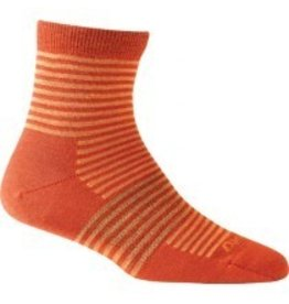 Darn Tough Womens Merino Wool Mini Stripe QTR Crew Orange