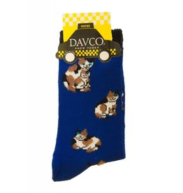 Davco Ladies Calico Cats Socks Cobalt