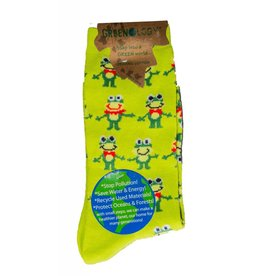 Davco Women's Frog's Party Greenology Socks Lime