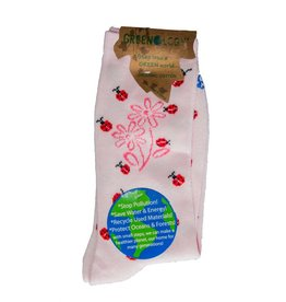 Davco Women's Happy Ladybug Greenology Socks Pink