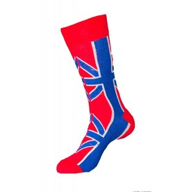 World of Hosiery Union Jack Mens Crew 10-13 UK Flag Red 3/$10