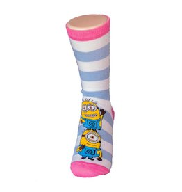 Universal Despicable Me Womens 9-11 Crew Minion Tower Stripes 3/$10