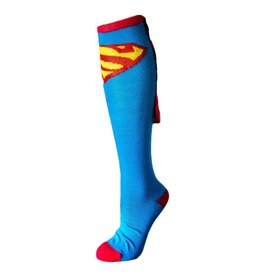 DC Superman Light Blue With Red Shiny Cape Knee High Socks