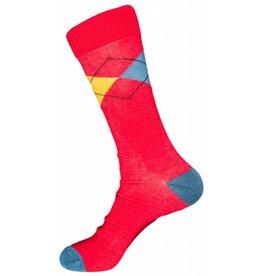 Mens Polo Club Dress Argyle Crew Red Socks