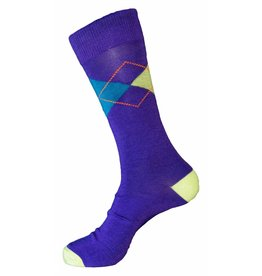 Mens Polo Club Dress Argyle Crew Purple Socks