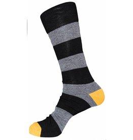 Davco Mens Rugby Stripe Dress Socks Black