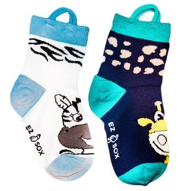Kids EZ Sox 2 Pair Pack Zebra & Giraffe Socks