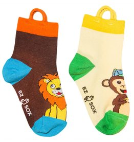 Kids EZ Sox 2 Pair Pack Lion & Monkey Socks