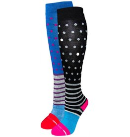 Dr. Motion Women's Compression Socks: Cotton Yarn Dots & Stripes Socks