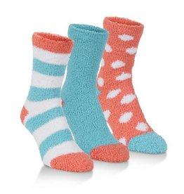 Women's Spa Socks Three Pack: Coral & Blue Combo