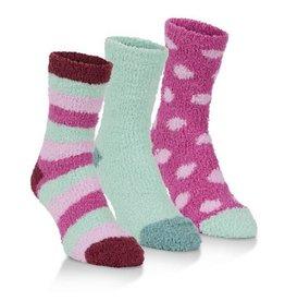 Women's Spa Socks Three Pack: Magenta & Mint Combo