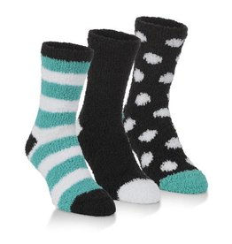 Women's Spa Socks Three Pack: Black & Teal Combo