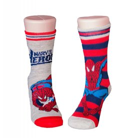 Marvel Kids Spider-Man 2 Pack Red & Grey Socks