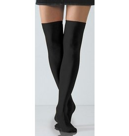Foot Traffic Solid Opaque Thigh Highs Black