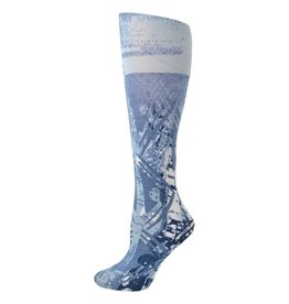 Foot Traffic Womens Printed Tights-Blue Batik
