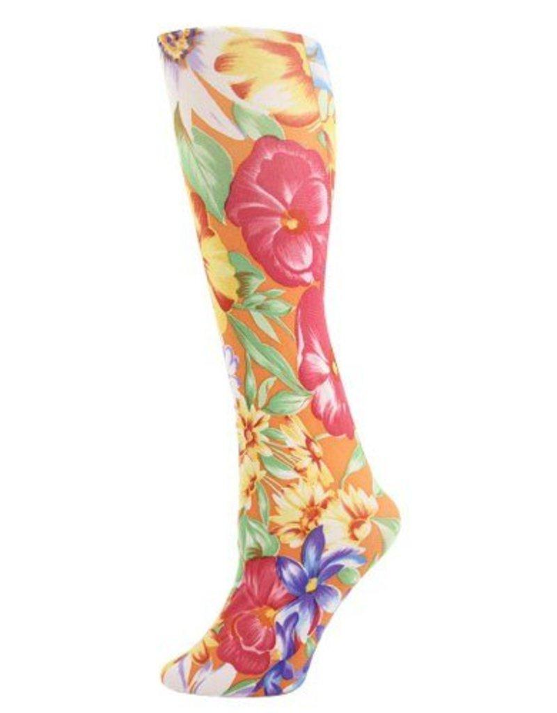 Foot Traffic Womens Printed Tights-Orange Tahiti - The Sox Market