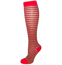 Davco Women's Christmas Glitter Stripes Knee High Socks