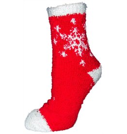 North Pines Inc Women's Fuzzy X-Mas Snowflake Crew Socks