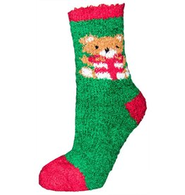 North Pines Inc Women's Fuzzy X-Mas Bear Crew Socks