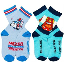 Disney Kids Cars Crew Socks 2 Pack Aqua & Blue