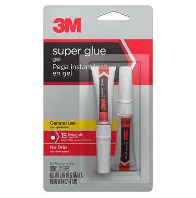 3M Super Glue Gel-Two 2 gram Tubes