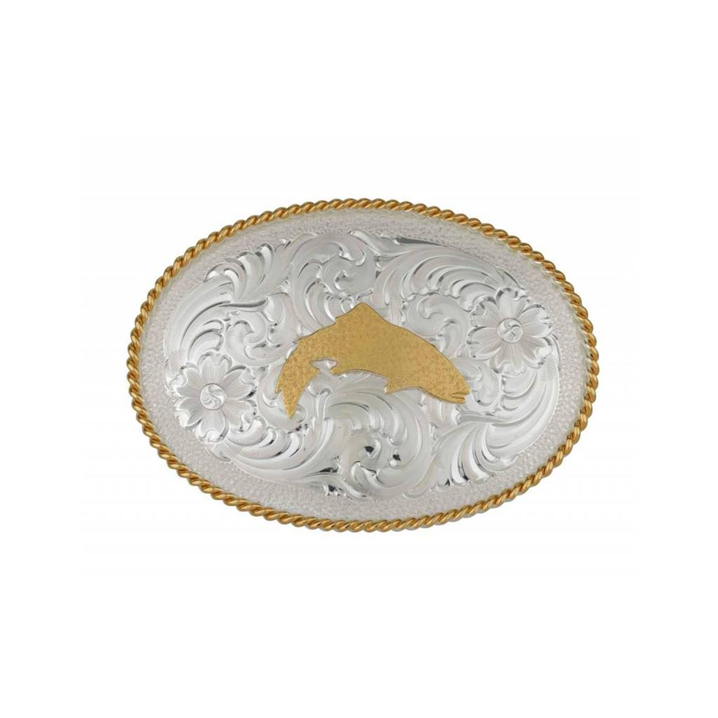 Simms Trout Belt Buckle Silver