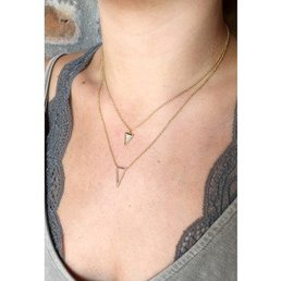Double Layer Pave Triangle Necklace