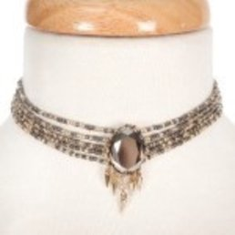 Multi Row Beaded Choker W/ Gray Stone