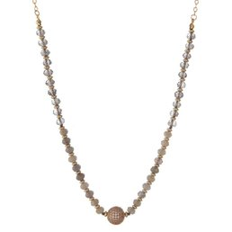 Gray & Ivory Glass Bead Necklace