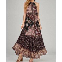 Open Back Halter Neck Floral Block  Maxi Dress