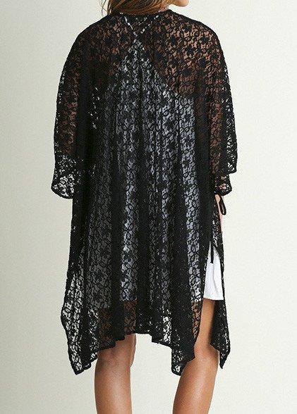 Open Front Oversized Lace Cardigan - Tiffany Lane