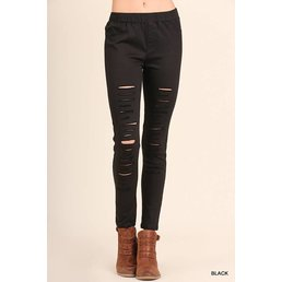 High Waist Distressed Jeggings W/ Elastic Waistband
