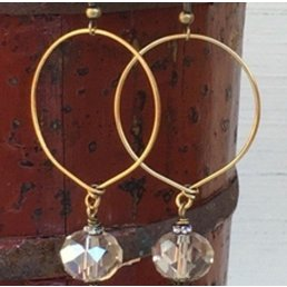 "1.5""  Hoop Earrings W/ .5 Crystal Drop"