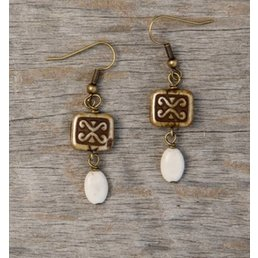 "1.5"" Antique Brass Earring W/ Stone Accent"