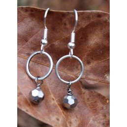 Small  Circle W/ Mirrorball Crystal Dangle