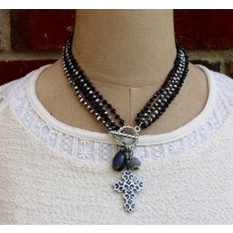 Metal & Crystal Convertible Necklace