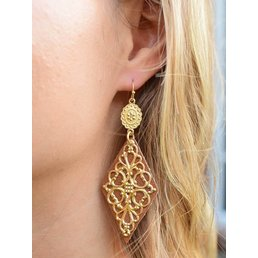Leather & Filigree Overlay Earrings