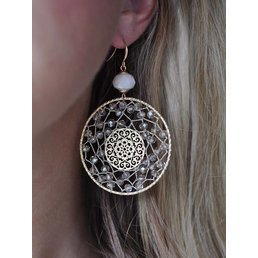 "2.5"" Circle Dangle Earrings W/ Rhinestone Accents"