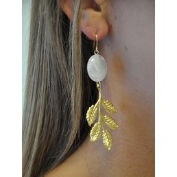 "2.5"" Blush Gemstone W/ Leaf Accent Earring"