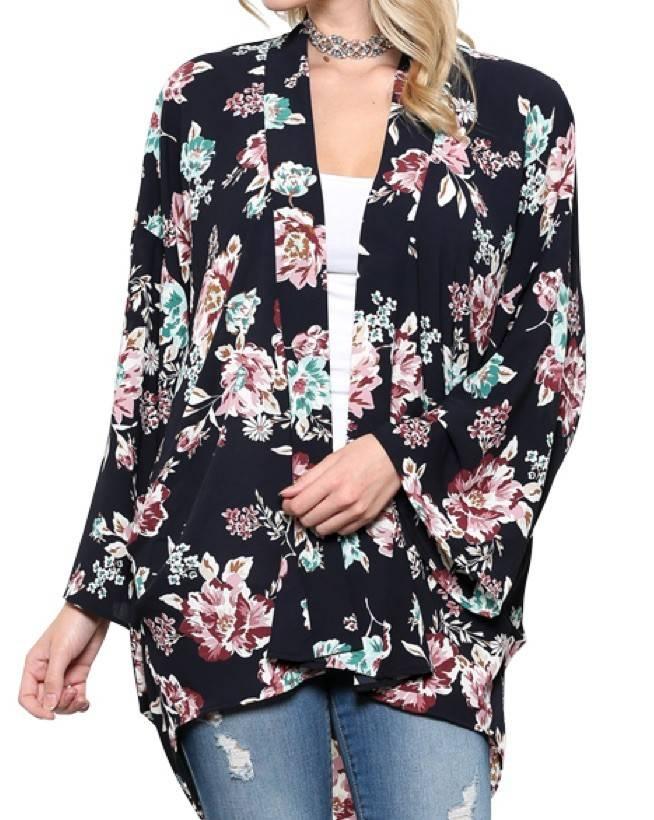 Floral Print Front Open Kimono Cardigan - Tiffany Lane