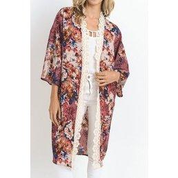 3/4 Sleeve Print  Kimono Cardigan