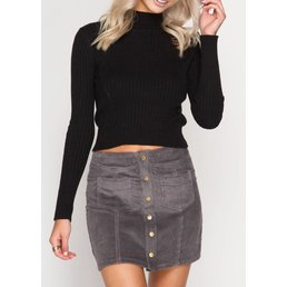 Corduroy Skirt W/ Front Buttons & Pockets