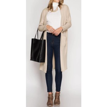 Long Sleeve Ribbed Midi Cardigan W/ Pockets - Tiffany Lane