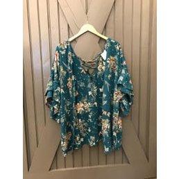 Ruffled Sleeve Floral Print Kimono