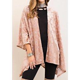 Floral Burnout Velvet Kimono Cardigan W/ Handkerchief Hem