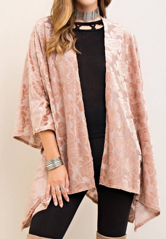 Floral Burnout Velvet Kimono Cardigan W/ Handkerchief Hem ...