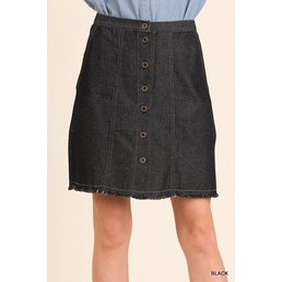 Denim A-Line Skirt W/ Button Details & Unfinished Hem