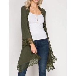 3/4 Sleeve Cardigan Kimono W/ Lace Trim