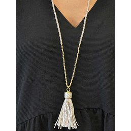 Long Beaded Necklace W/ Leather Tassel