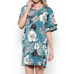Double Ruffle Sleeve Floral Print Dress